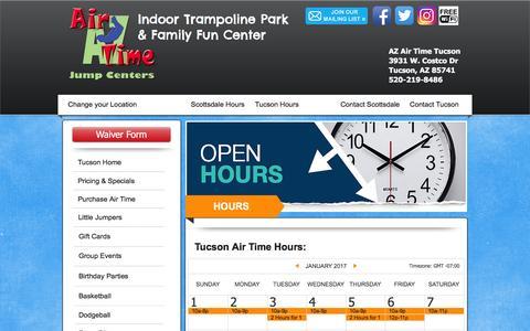 Screenshot of Hours Page azairtime.com - AZ Air Time Tucson Hours - captured Jan. 26, 2017