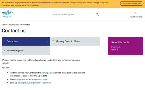 Screenshot of Contact Page medway.gov.uk - Contact us | Contact us | Medway Council - captured Sept. 22, 2018