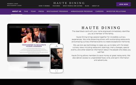 Screenshot of About Page Press Page Jobs Page Team Page hautedining.com - Haute Dining › Your Passport To The Ultimate Culinary Experience - captured Nov. 1, 2014
