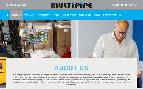 Screenshot of About Page multipipe.co.uk - About Us - Multipipe Ltd – Multilayer Plastic pipes, fittings, heating and underfloor heating - captured Nov. 9, 2018