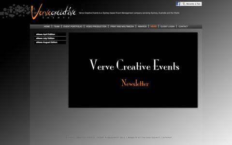 Screenshot of Press Page vervecreativeevents.com.au - VERVE CREATIVE EVENT MANAGEMENT SYDNEY AUSTRALIA INTERNATIONAL - NEWS - Verve Creative Monthly News - Verve Creative Events Newsletter - captured Jan. 13, 2016