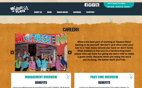 Screenshot of Jobs Page tijuanaflats.com - Careers - Tijuana Flats - captured Feb. 1, 2016