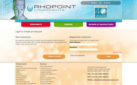 Screenshot of Login Page rhopointcomponents.com - Customer Login - captured Feb. 15, 2016