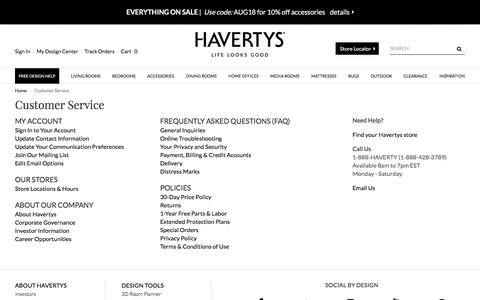 Screenshot of Support Page havertys.com - Customer Service - captured July 17, 2018