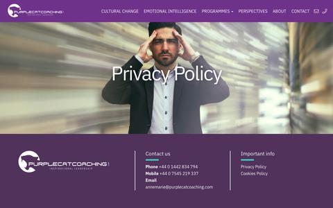 Screenshot of Privacy Page purplecatcoaching.com - Privacy Policy - PurpleCat Coaching - captured Sept. 30, 2018