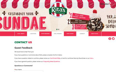 Screenshot of Contact Page ritasice.com - Contact Rita's   Rita's Italian Ice - captured Nov. 28, 2016