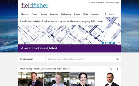 Screenshot of Home Page fieldfisher.com - A law firm built around people - Fieldfisher - captured Jan. 15, 2016