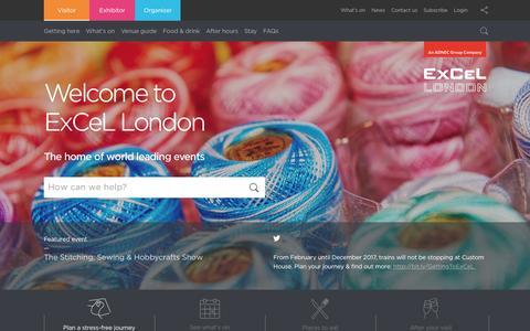 Screenshot of Home Page excel.london - Visitor - ExCeL London - captured April 17, 2017