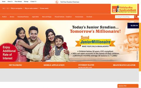Screenshot of Home Page syndicatebank.in - home - captured Oct. 2, 2015