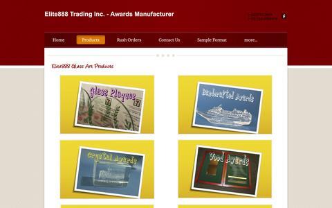 Screenshot of Products Page elite888.com - Products - Elite888 Trading Inc. - Awards Manufacturer - captured Oct. 2, 2014