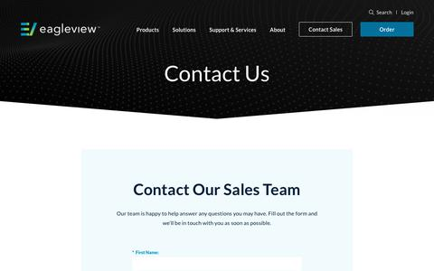 Screenshot of About Page Contact Page eagleview.com - Contact Us | EagleView US - captured Sept. 5, 2019