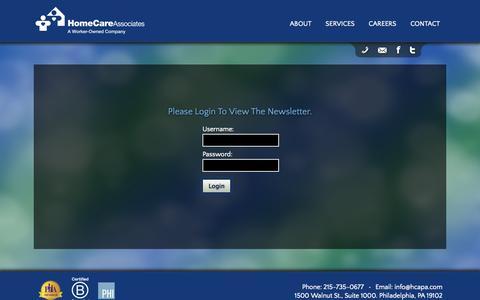 Screenshot of Login Page homecareassociatespa.com - Home Care Associates Newsletter - captured Oct. 2, 2014