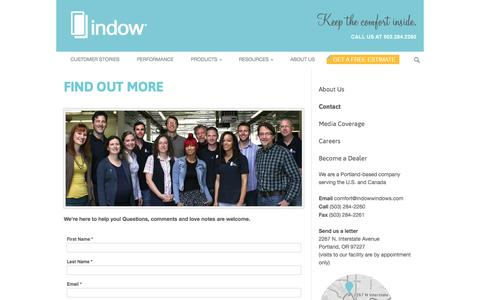 Screenshot of Contact Page indowwindows.com - Indow | Find Out More | - captured May 9, 2017