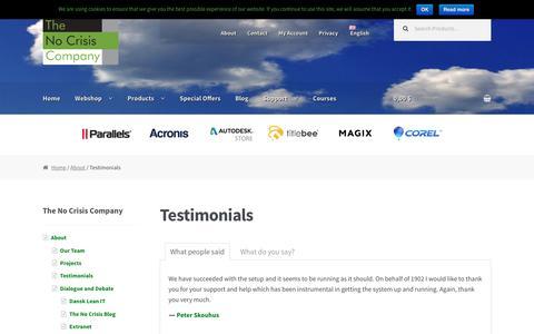 Screenshot of Testimonials Page nocrisis.dk - Testimonials and feedback | The No Crisis Company - captured Nov. 9, 2016
