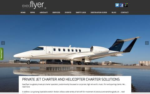 Screenshot of Home Page execflyer.com - Private Jet Charter UK. Global air charter solutions | Execflyer - captured Oct. 3, 2014