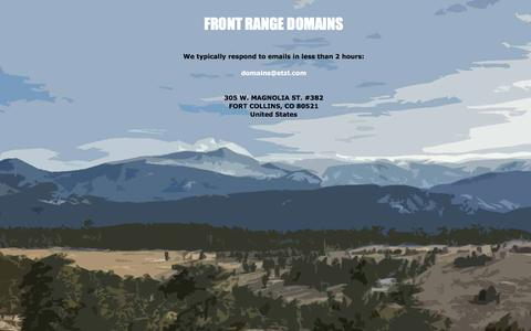 Screenshot of Home Page frontrangedomains.com - Front Range Domains - captured Feb. 10, 2016