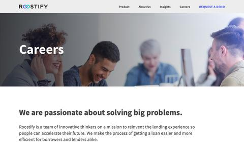 Screenshot of Jobs Page roostify.com - Careers — Roostify  |  Reinvent Lending. Realize Dreams. - captured Feb. 2, 2019