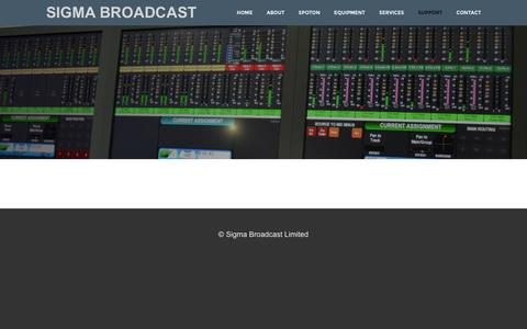 Screenshot of Support Page sigmabroadcast.com - Support - SIGMA BROADCAST - captured Feb. 22, 2016