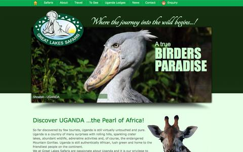 Screenshot of Home Page safari-uganda.com - African Safaris, Uganda Lodges, Gorilla Trekking | Great Lakes Safaris - captured Sept. 25, 2018