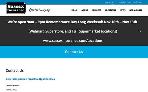 Screenshot of Contact Page sussexinsurance.com - Contact Us | Sussex Insurance - captured Nov. 10, 2017