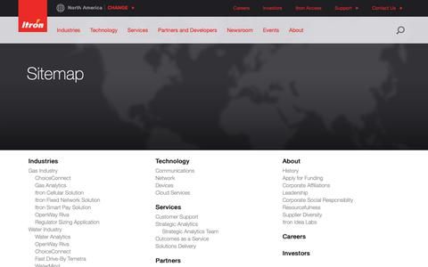 Screenshot of Site Map Page itron.com - Sitemap - captured Sept. 26, 2018