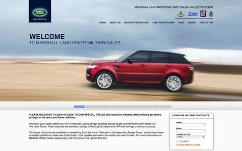 Screenshot of Home Page landrovermilitarysales.co.uk - Marshall Land Rover Military Sales - 4x4 Vehicles - Military Discounts - captured Oct. 6, 2014