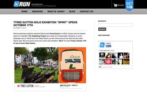 Screenshot of Blog 1xrun.com - The 1xRUN.com Blog - Limited Edition Time Released Art Prints, Original Artwork, Artist Interviews, News, RUN Drops, Art History & Discussion - captured Oct. 27, 2014