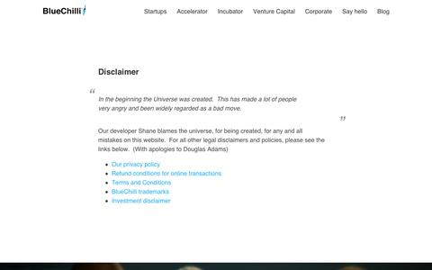 Screenshot of Terms Page bluechilli.com - Disclaimers, terms and conditions, privacy policy - BlueChilli - captured Sept. 10, 2014