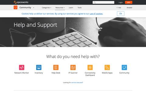 Screenshot of Support Page spiceworks.com - Spiceworks Software Support - Spiceworks - captured Oct. 14, 2017