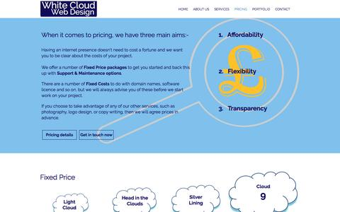 Screenshot of Pricing Page whitecloudwebdesign.co.uk - White Cloud Web Design | Affordable Websites in Cheshire | PRICING - captured May 10, 2017