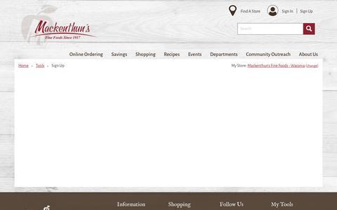 Screenshot of Signup Page mackenthuns.com - Sign Up |  Mackenthun's - captured Nov. 12, 2018