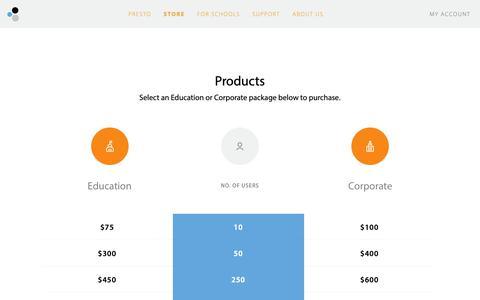 Screenshot of Products Page collobos.com - Collobos - Presto - captured Sept. 28, 2018