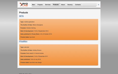 Screenshot of Products Page rydlab.com - RYDLAB > Проекты - captured Sept. 30, 2014