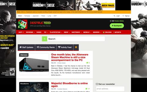 Screenshot of Home Page destructoid.com - Video games, news, reviews, trailers, and gamer guides - captured Dec. 2, 2015