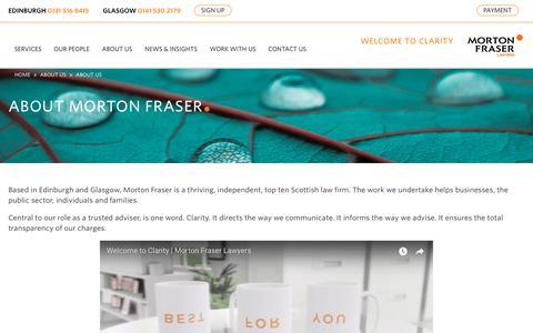 Screenshot of About Page morton-fraser.com - About Morton Fraser | Morton Fraser Lawyers | Edinburgh and Glasgow - captured Sept. 20, 2018