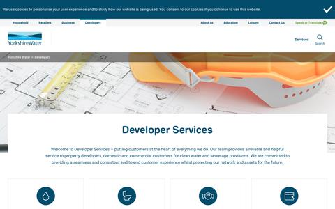 Screenshot of Developers Page yorkshirewater.com - Developer Services | Yorkshire Water - captured Sept. 21, 2018