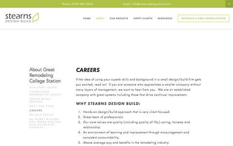 Screenshot of Jobs Page stearnsdesignbuild.com - Careers — Stearns Design Build - captured Nov. 6, 2017