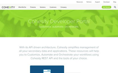Screenshot of Developers Page cohesity.com - Cohesity Developer Portal | Cohesity - captured Nov. 1, 2018