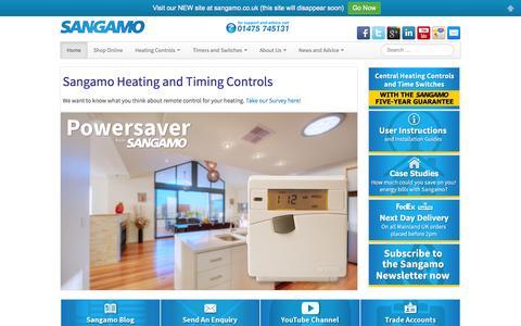 Screenshot of Home Page sangamoheatingcontrols.com - Sangamo Heating Controls with five year guarantee. - captured Oct. 3, 2014