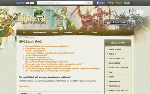 Screenshot of FAQ Page rpgstash.com - RPGStash FAQ - RPGStash - captured Nov. 8, 2016