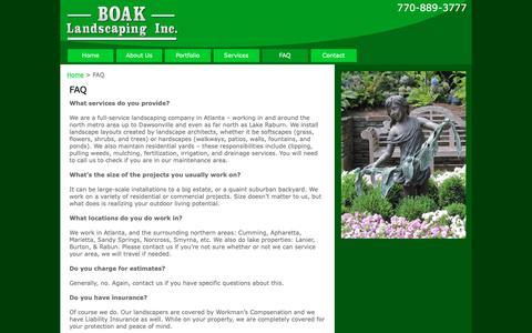 Screenshot of FAQ Page boaklandscaping.com - FAQ   - captured Oct. 6, 2018