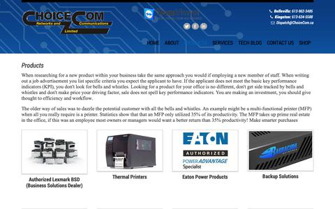 Screenshot of Products Page choicecom.ca - ChoiceCom  Networks & Communications LTD - Products - captured Sept. 28, 2018