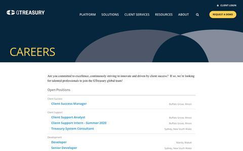 Screenshot of Jobs Page gtreasury.com - Career Opportunities - GTreasury - captured Jan. 25, 2020