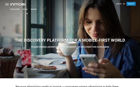 Screenshot of Home Page inmobi.com - InMobi | Mobile Discovery Commerce | Monetization | Advertising - captured Jan. 15, 2016