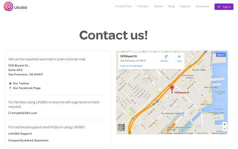 Screenshot of Contact Page life360.com - Contact Us | Life360 - The New Family Circle - captured July 20, 2014