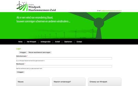 Screenshot of Login Page windparkhaarlemmermeerzuid.nl - Login | Windpark Haarlemmermeer-Zuid - captured Oct. 26, 2014