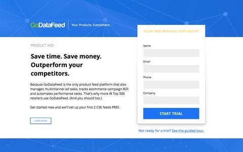 Screenshot of Landing Page godatafeed.com - Product Ads - Product Ad Feeds Automation & Optimization - captured Dec. 16, 2016