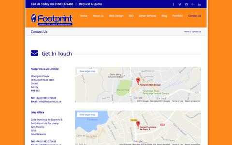 Screenshot of Contact Page footprint.co.uk - Contact Details For Footprint Web Design, Oxted, Surrey - captured Nov. 25, 2016