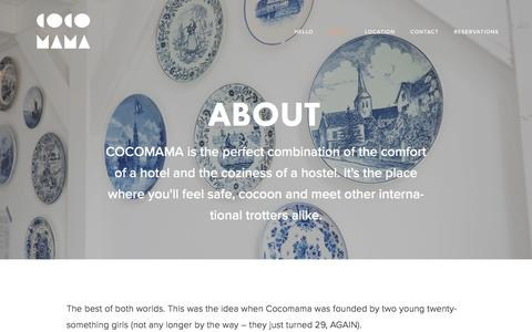 Screenshot of About Page cocomama.nl - About — Cocomama Amsterdam Boutique Hostel - captured July 14, 2016