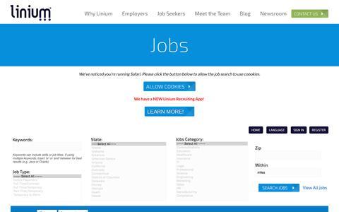 Screenshot of Jobs Page liniumrecruiting.com - Jobs   Linium Recruiting - captured July 19, 2018